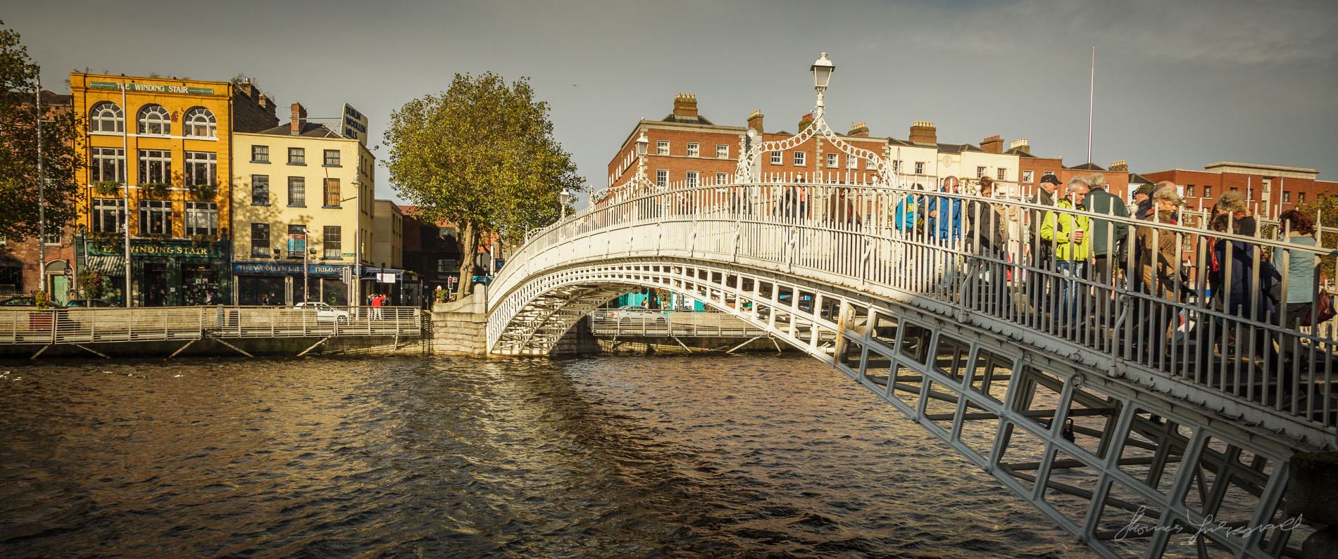 Ha'penny Bridge in Warm Sun Panorama