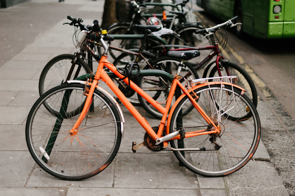 Photograph of Bright Orange Bicycle in Dublin