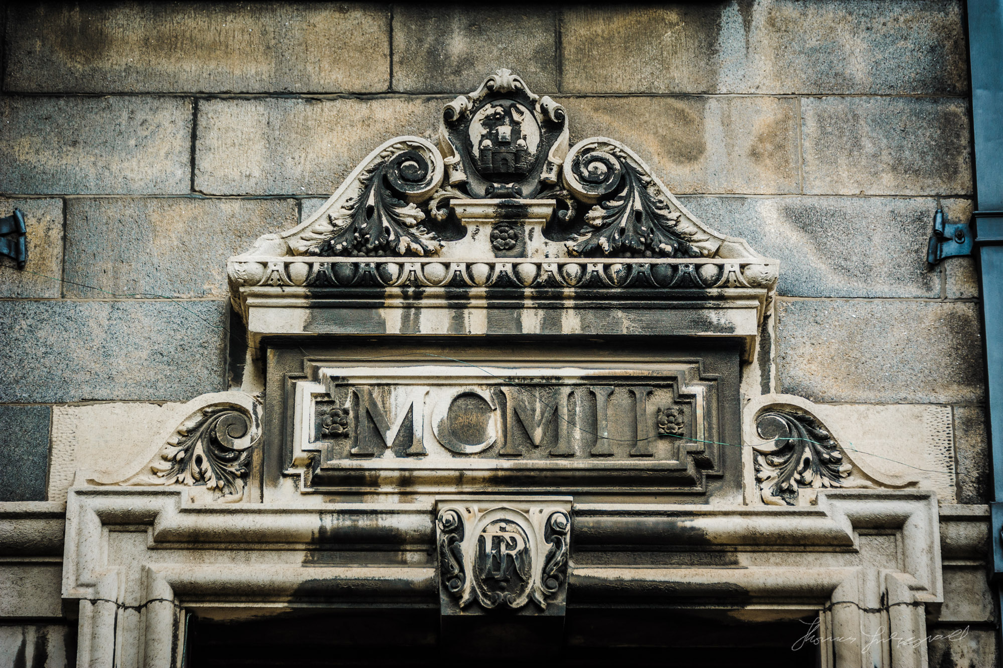 Old Moulding above a doorway in Trinity College Dublin