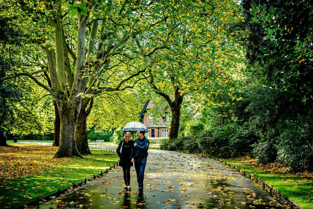 A Couple enjoys A Rainy Autumn Day in Stephen's Green