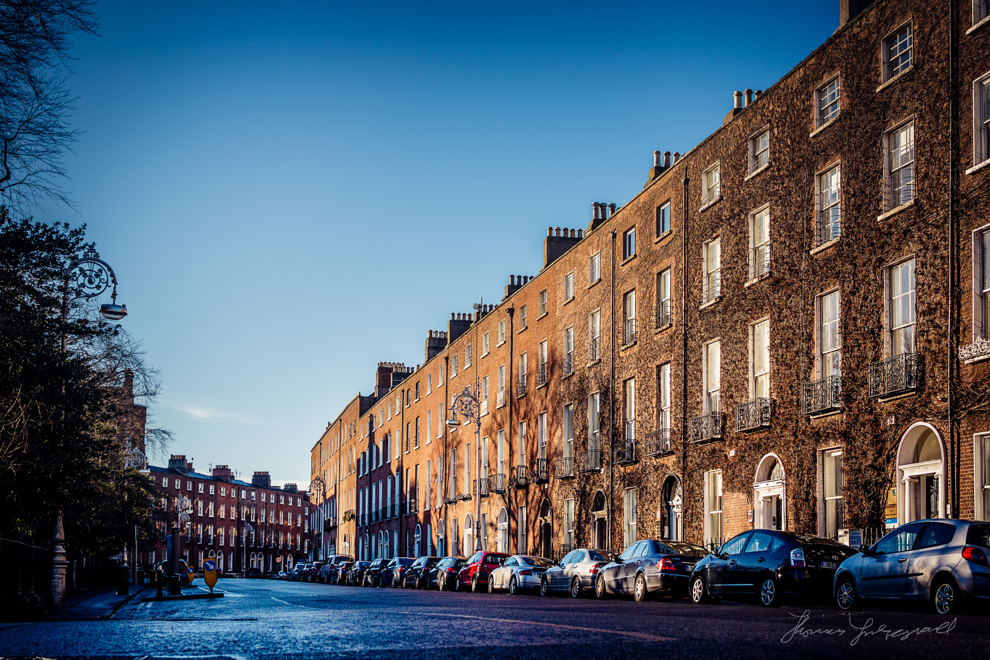 Pembroke Street in the beautiful light of the Irish winter morni