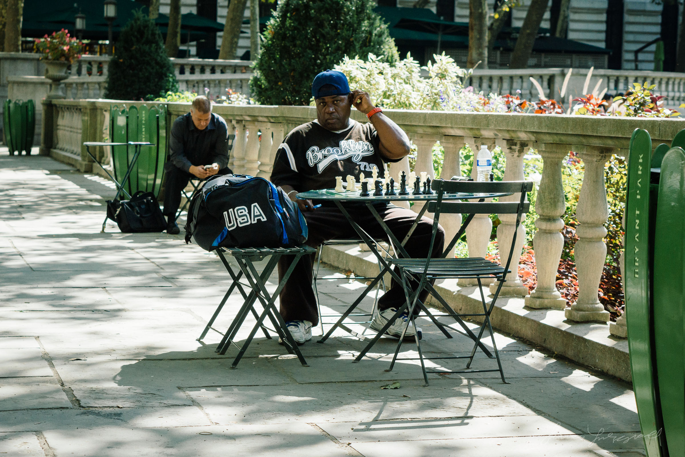 Man Playing Chess in Bryant Park