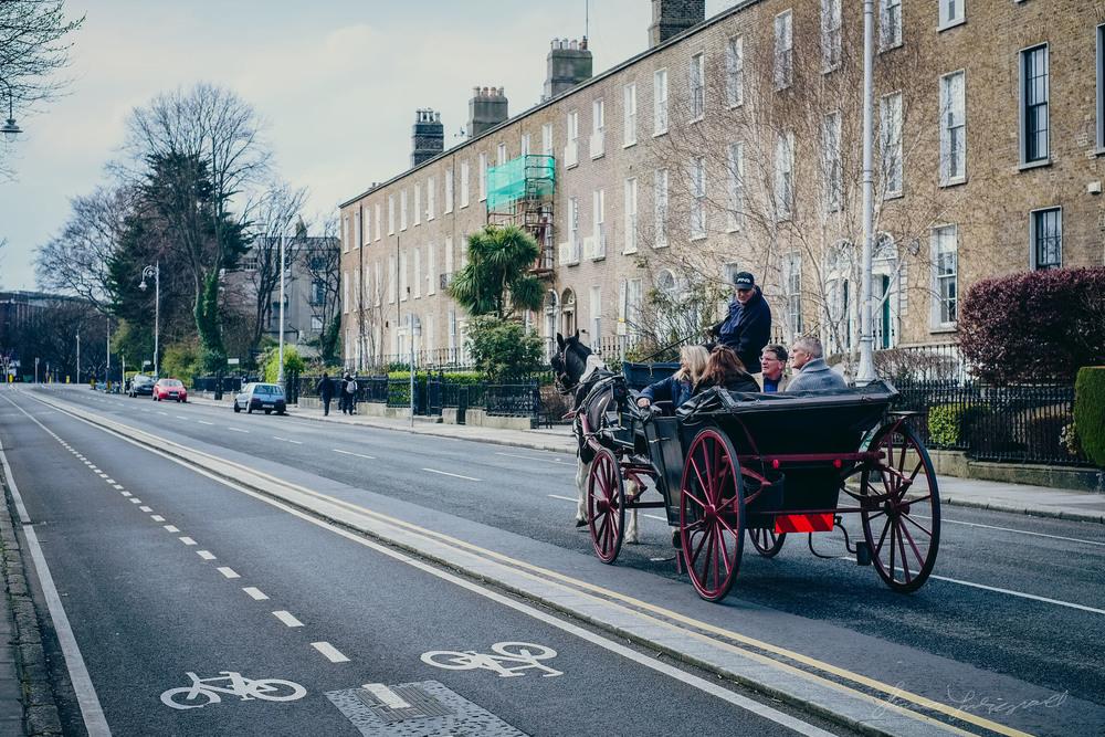 Tourists having a Carriage Ride through Dublin