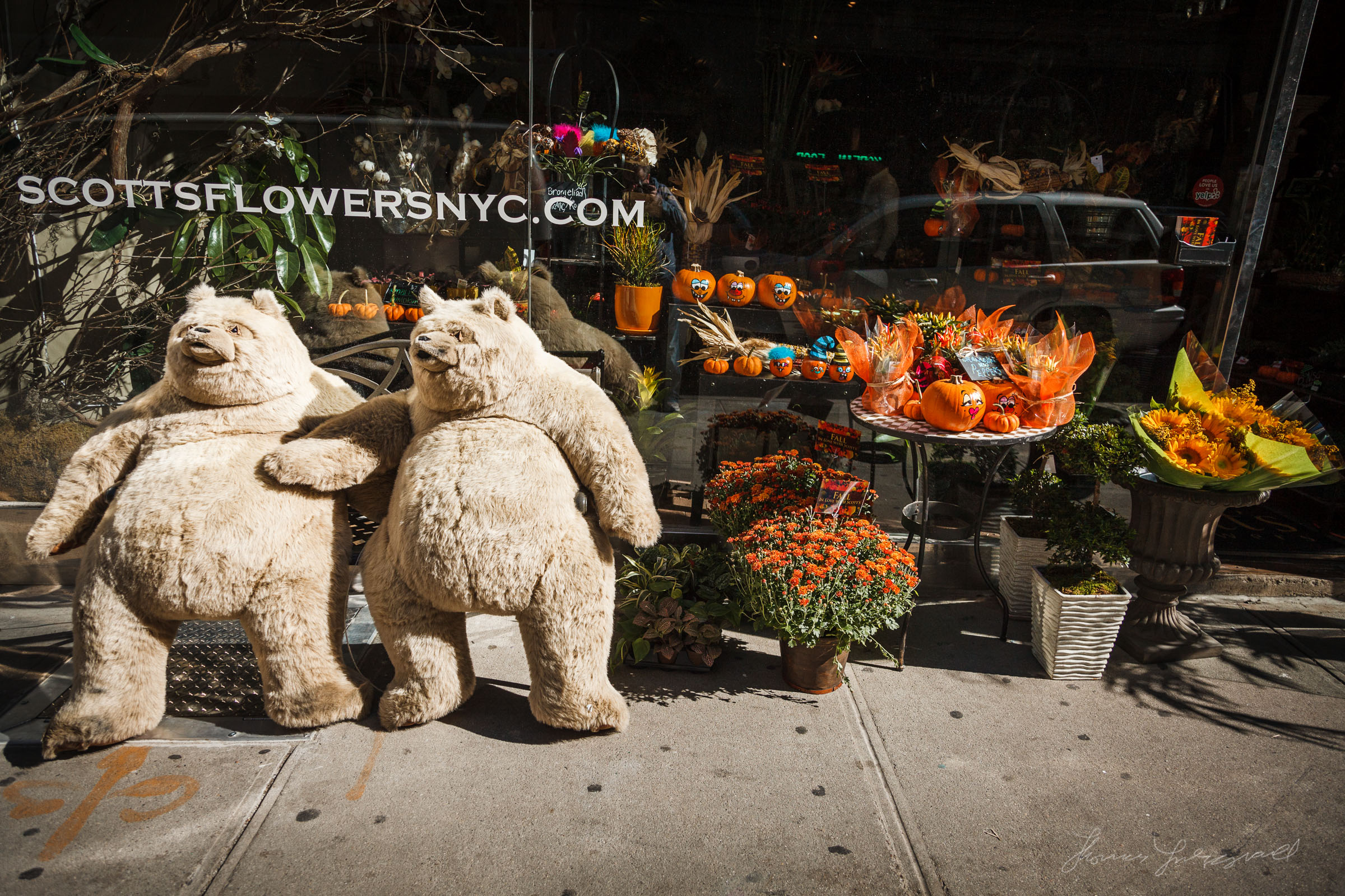Outside a Flower Shop in New York City