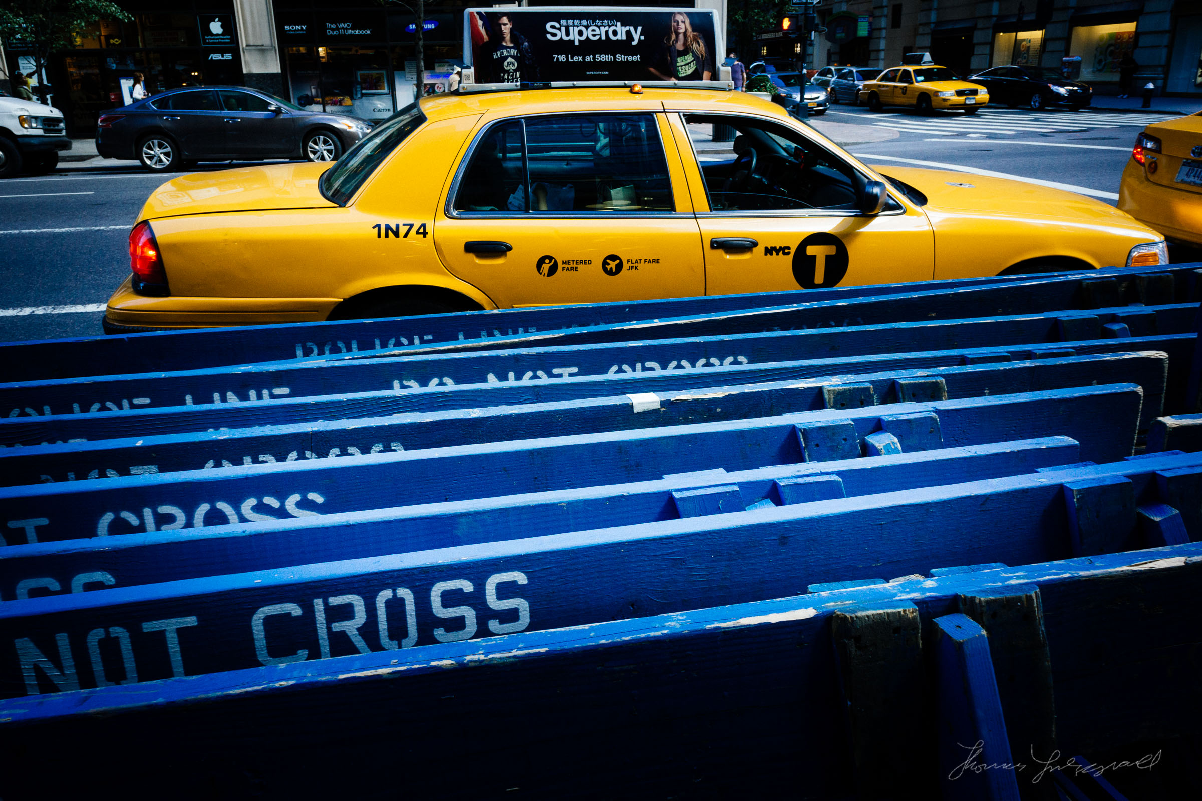 Yellow Cab and Police Barriers