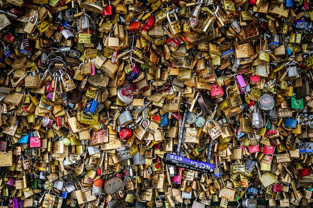 Love Locks on Pont Des Arts in Paris