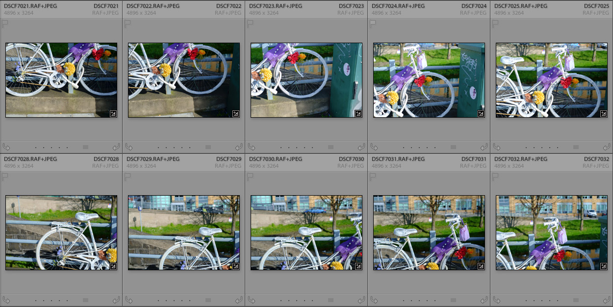 Bike images in Lightroom