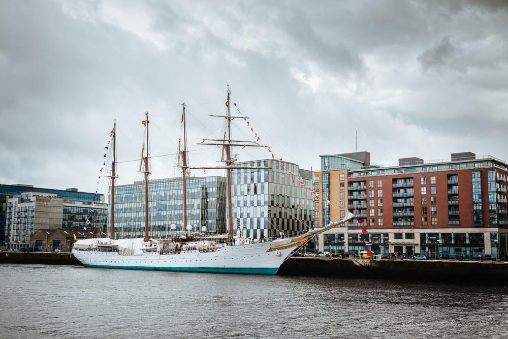The Juan Sebastián de Elcano Docked on the River Liffey in Dublin