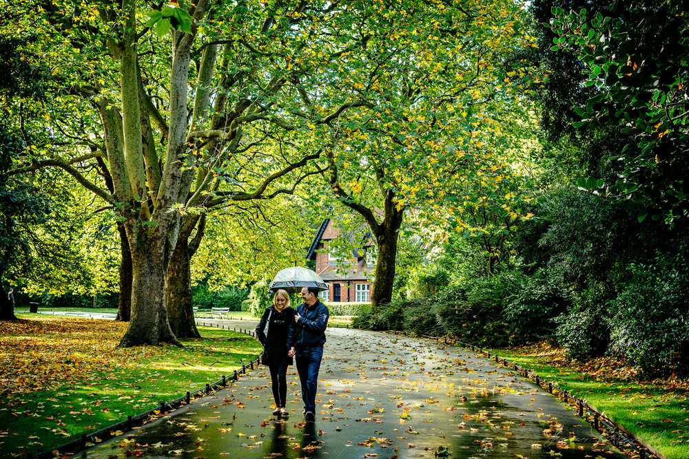 A Couple enjoys A Rainy Day in Stephen's Green last Autumn