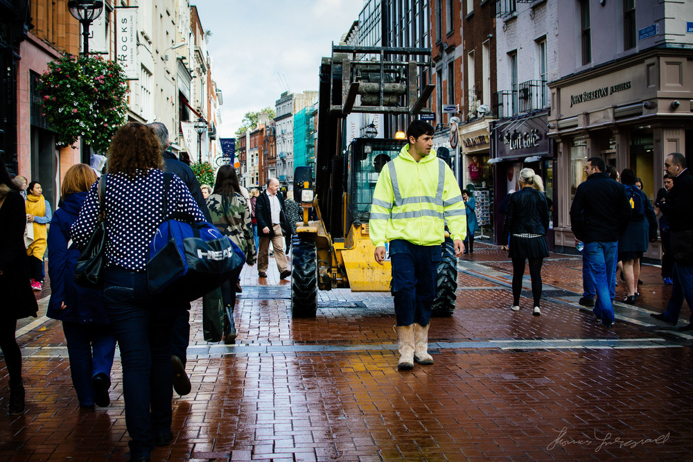 Taking the forklift for a walk down Grafton Street!