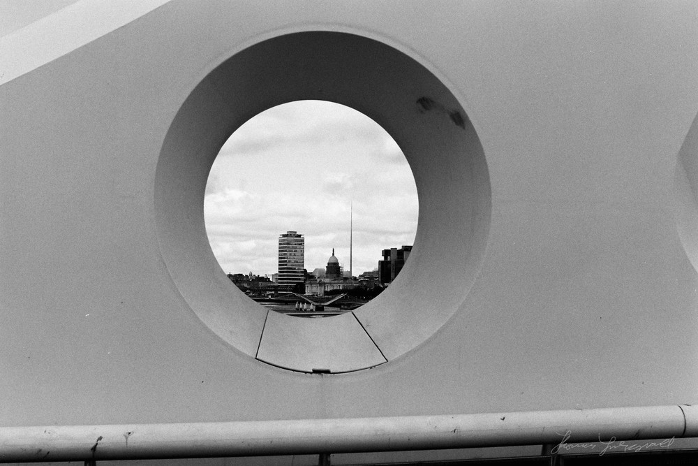 Dublin through the hole in the Beckett Bridge