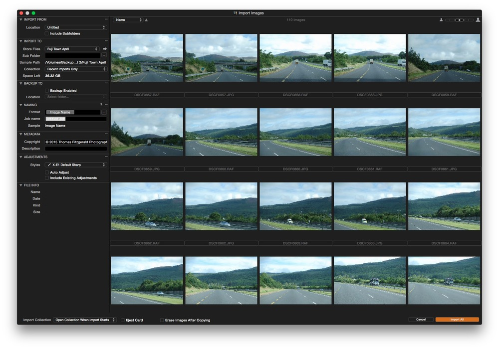 Capture One Import Window