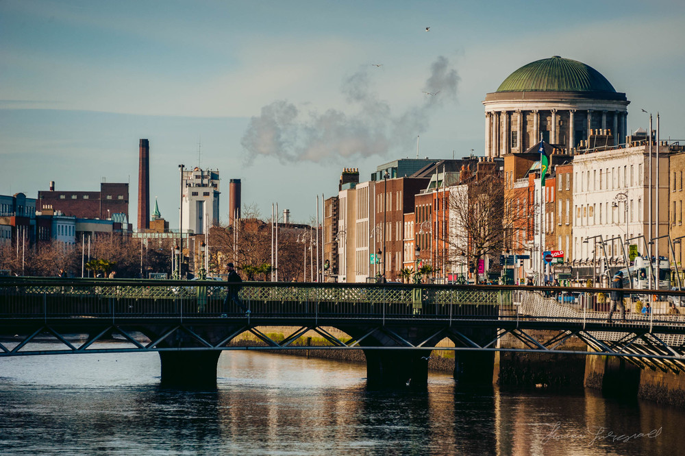 Smoke rising from St. James's Gate Guinness Brewry in the Distan