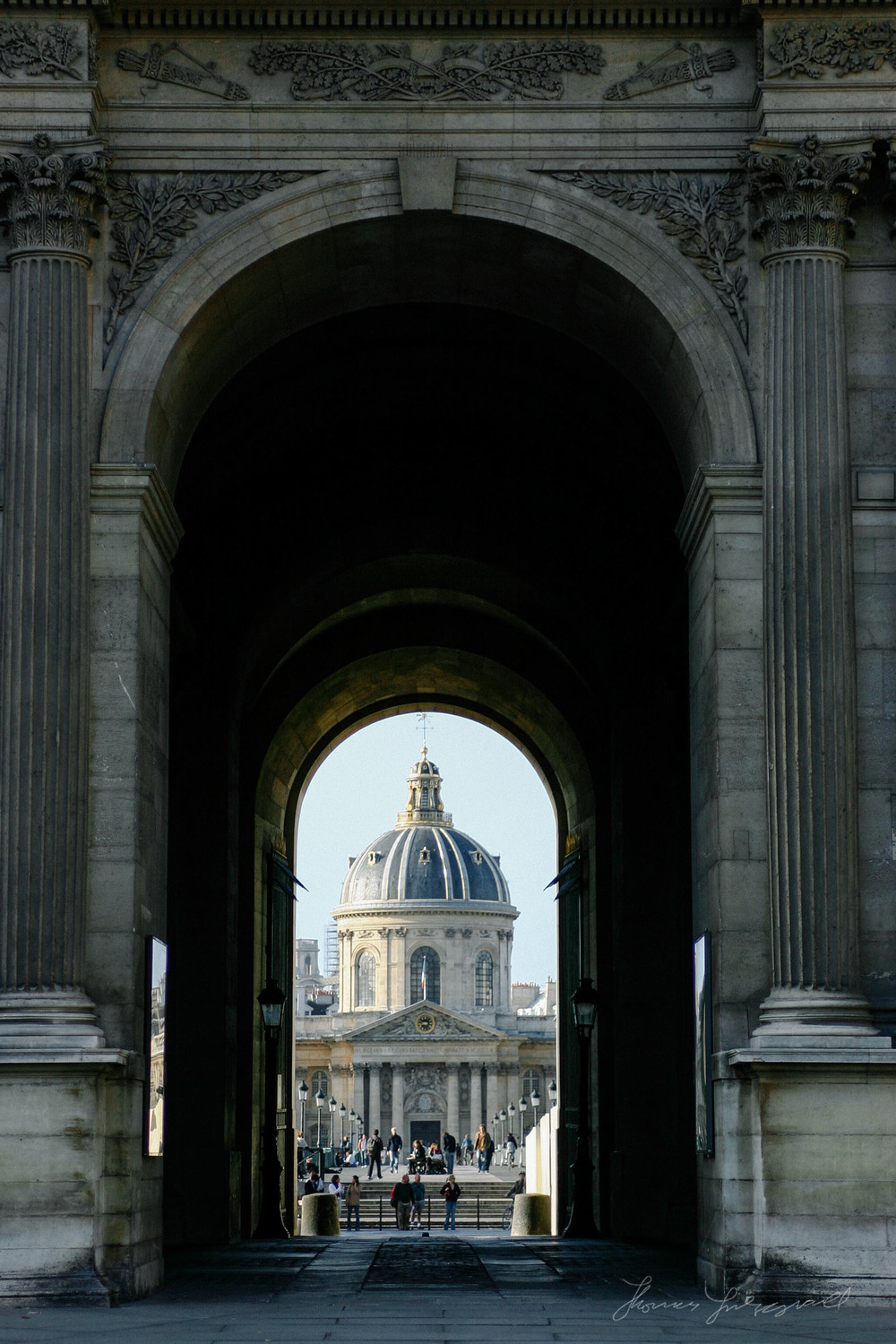 Looking out from the Louvre