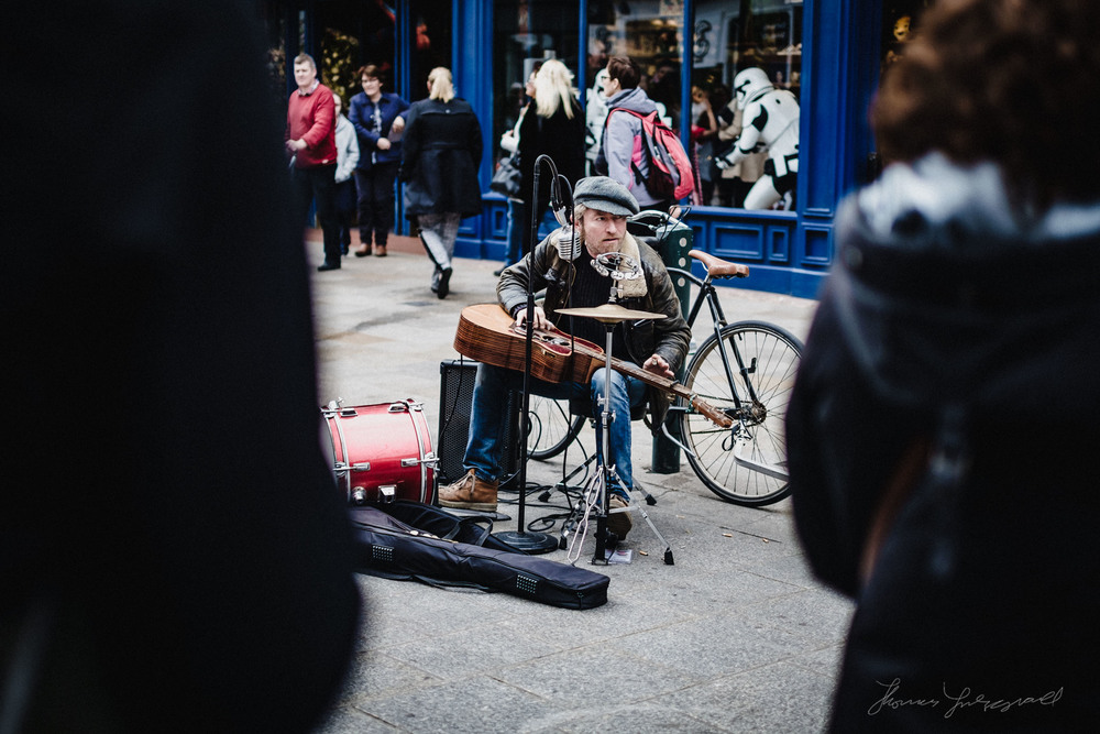 Busker on the Streets of Dublin: Street Photo Diary
