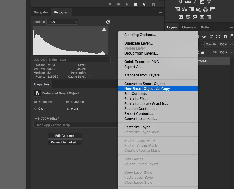 New Smart object via Copy - How to Reduce Shadow Noise using Lightroom and Photoshop