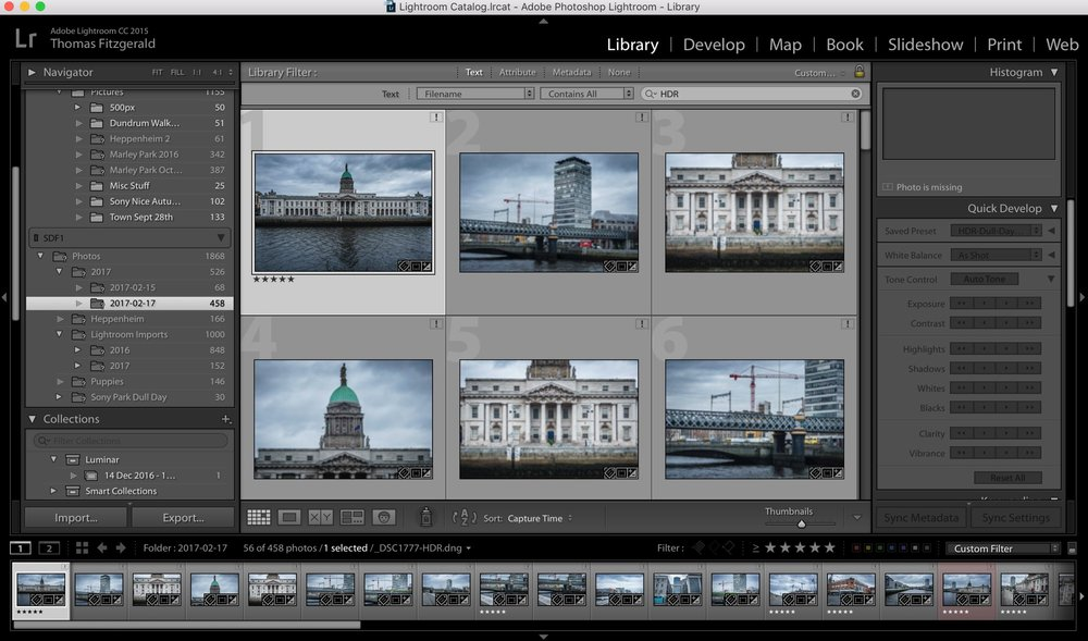 Quickly Find HDR files in Lightroom
