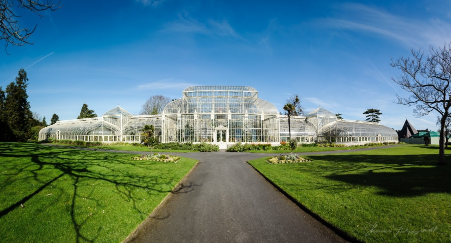 A panorama of the Ornate Greenhouses at the Botanic Gardens, Dublin
