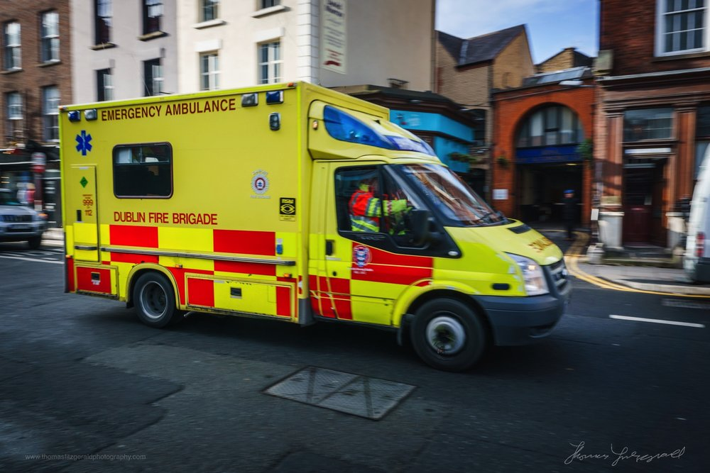 Ambulance racing down Dublin's Dawson Street