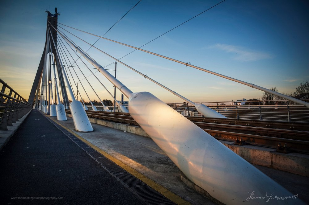The Luas Bridge in Dundrum at Sunset