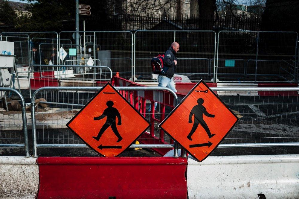 Between road works signs