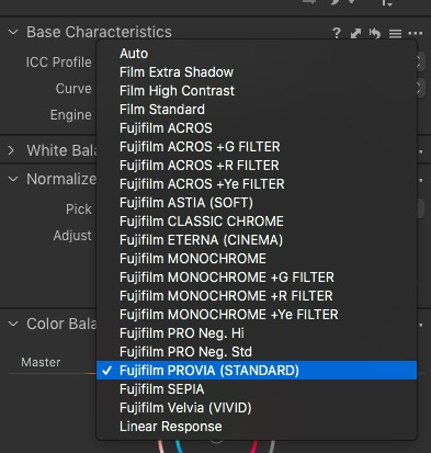 Fuji Film Simulation Modes