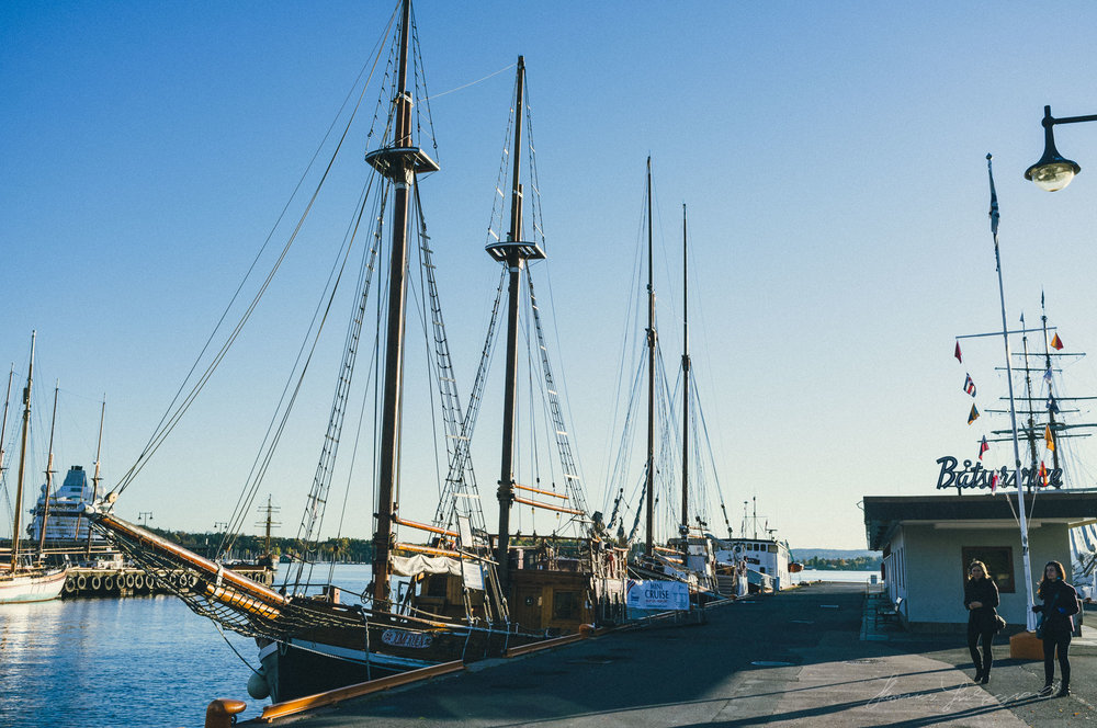 Moored Sailing Ship in the Oslo Harbour