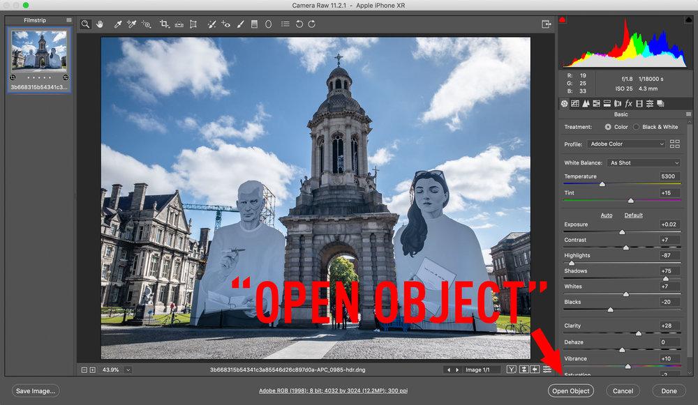 Open Object in Photoshop Camera RAW Window