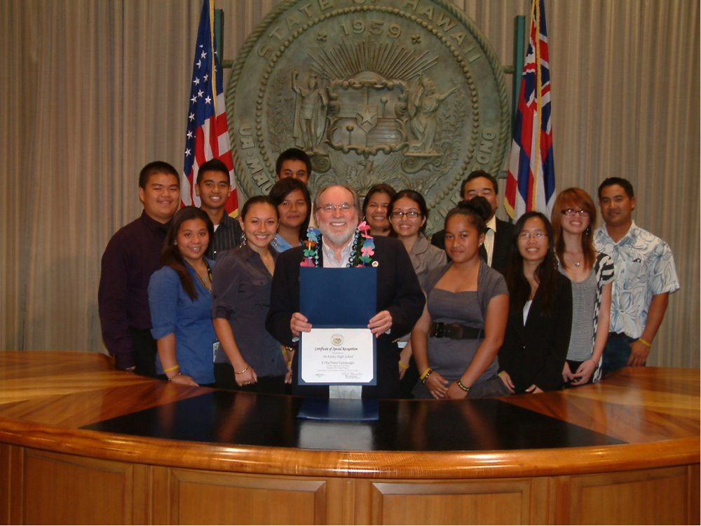 McKinley High School receiving a special recognition from Governor Neil Abercrombie for their Pono Project.