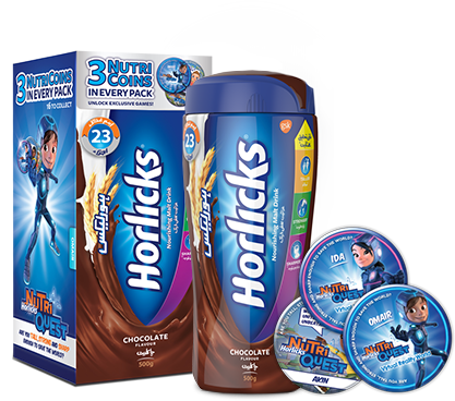 Rigged characters appear on official Horlicks beverage products and iOS/Android compatible collectibles