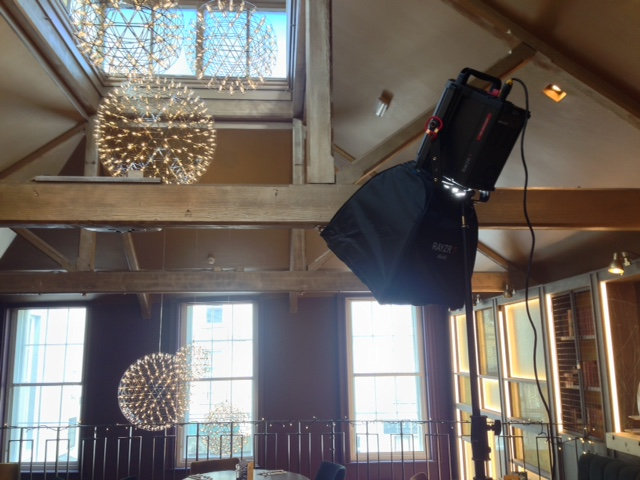 rayzr 7 led fresnel with softbox