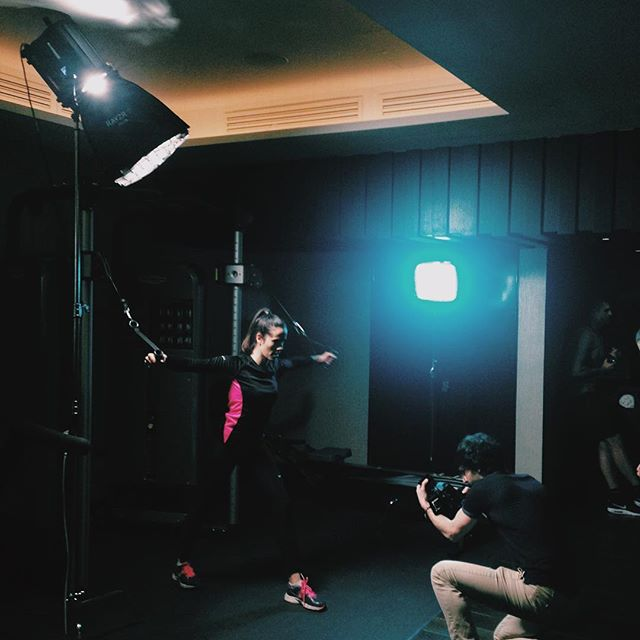 BTS using the @rayzr_light led and @fvlight to create some dramatic contrast  in our gym scene. . . . . . #cinematography #filmmaking #advertisement #marketing #lighting #gym #model