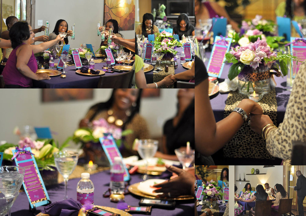friends and tablescapes purple party