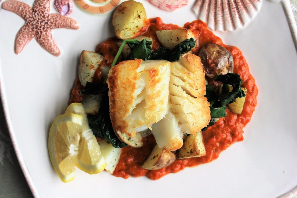 Seabass with Red Pepper Sauce Foodie Tuesday with Smarty Marty.jpg.jpg