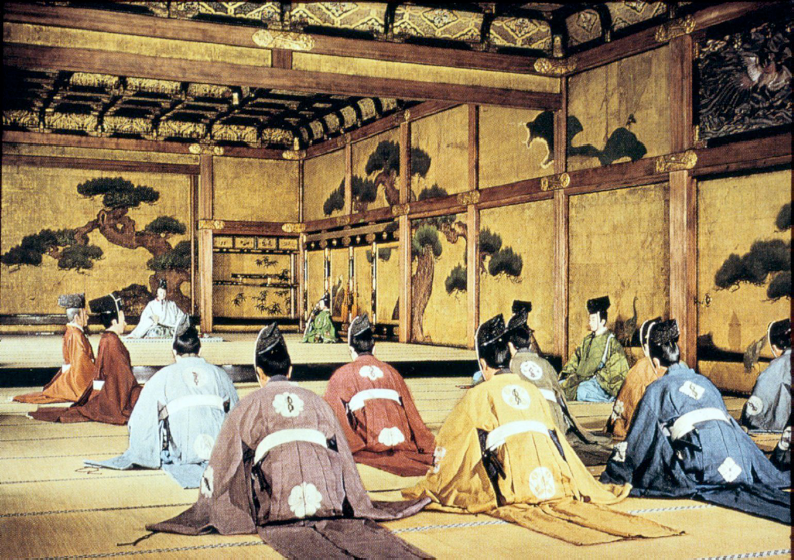 Large reception room of Nijo Castle features pine trees and storks (symbols of longevity