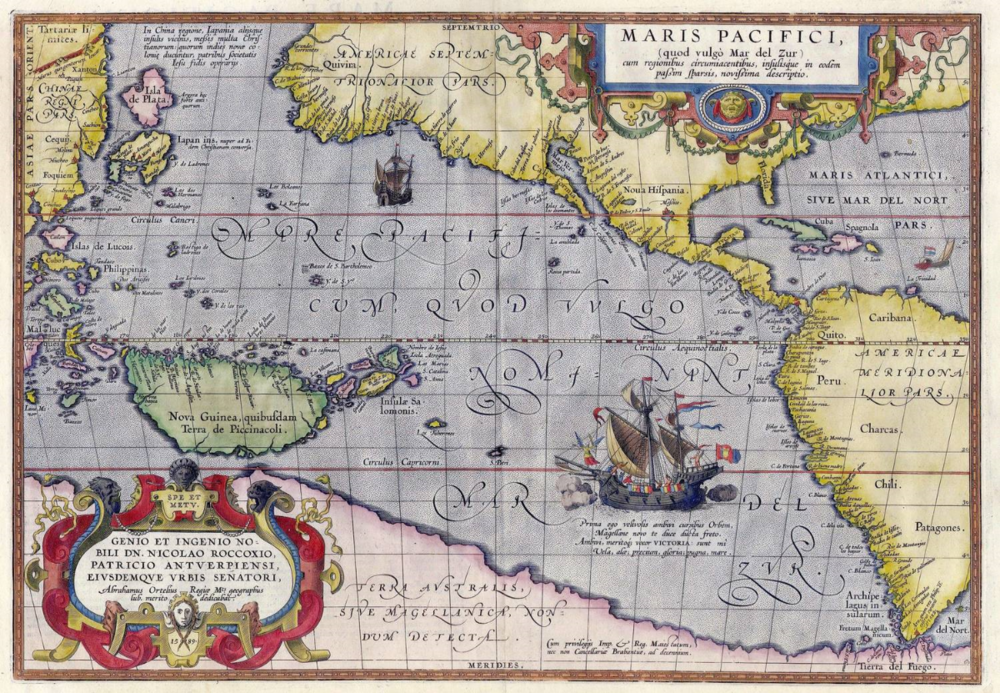 Maris Pacifici by Abraham Ortelius.  This map was published in 1589 in his  Theatrum Orbis Terrarum    It was not only the first printed map of the Pacific, but it also showed the Americas for the first time.