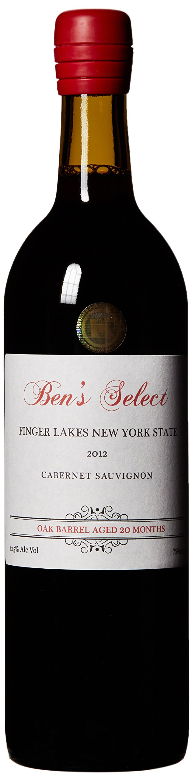 """2012 Ben Ish Winery """"Ben's Select"""" Finger Lakes New York State Cabernet Sauvignon with personalized label 750 mL"""
