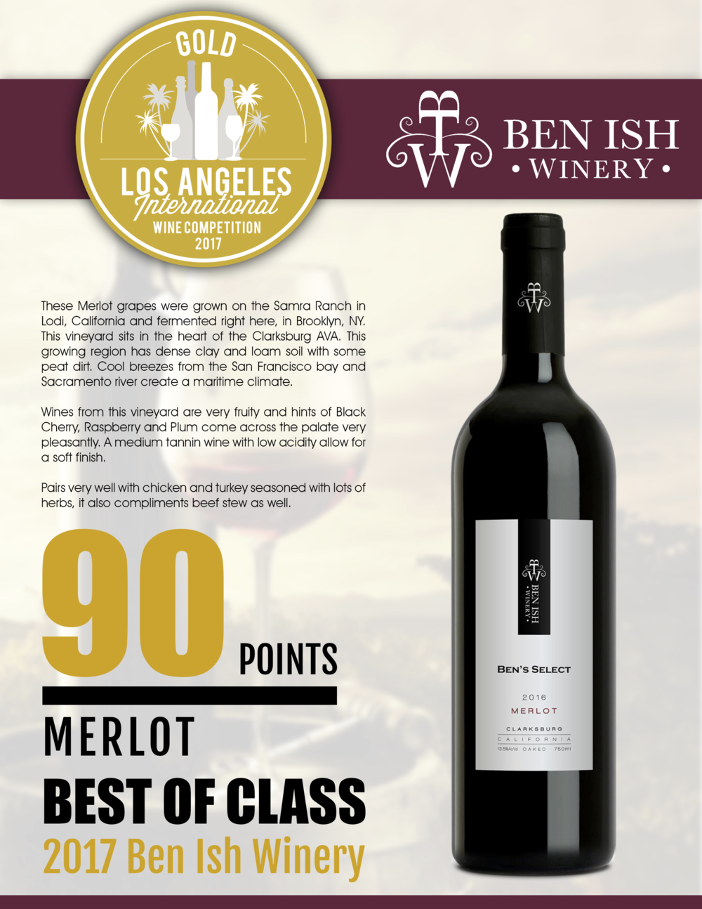 Los Angeles International Wine Competition - 2017 - GOLD medal -2016 Merlot