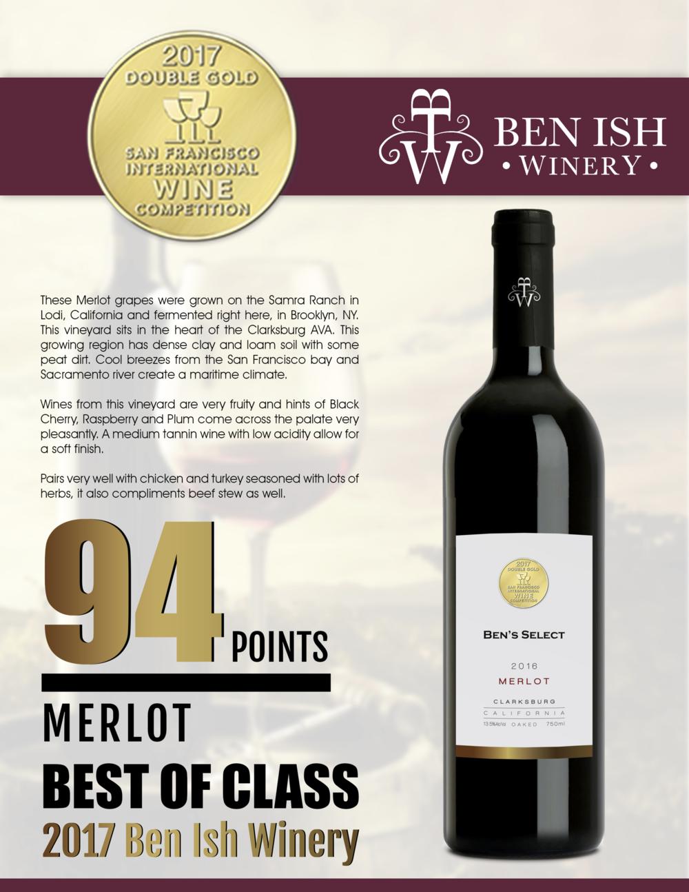 San Fransisco International Wine Competition - 2017 - DOUBLE GOLD medal -2016 Merlot