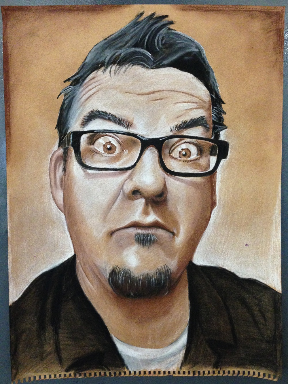 "Self-Portrait.  Conte Crayon on toned paper.  18"" x 24"""