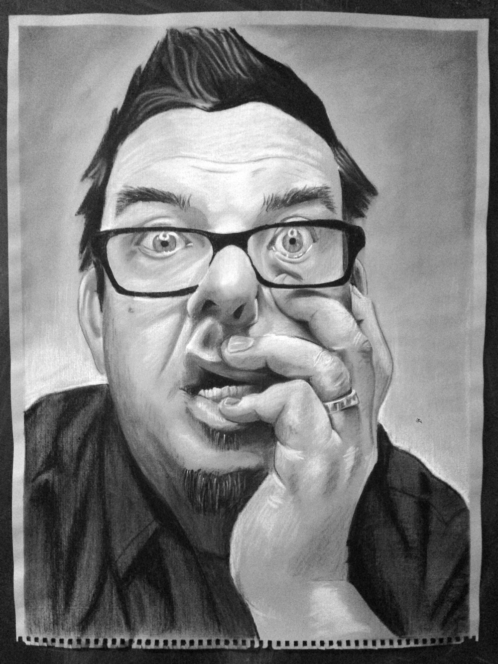 "Self-Portrait.  Chalk and Charcoal on toned paper.  18"" x 24"""