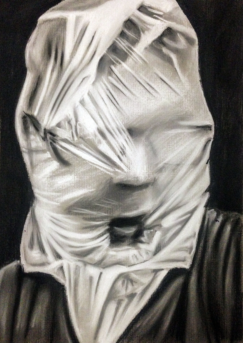 "Self-Portrait with plastic bag.  Chalk and Charcoal on toned paper.  9"" x 12"""