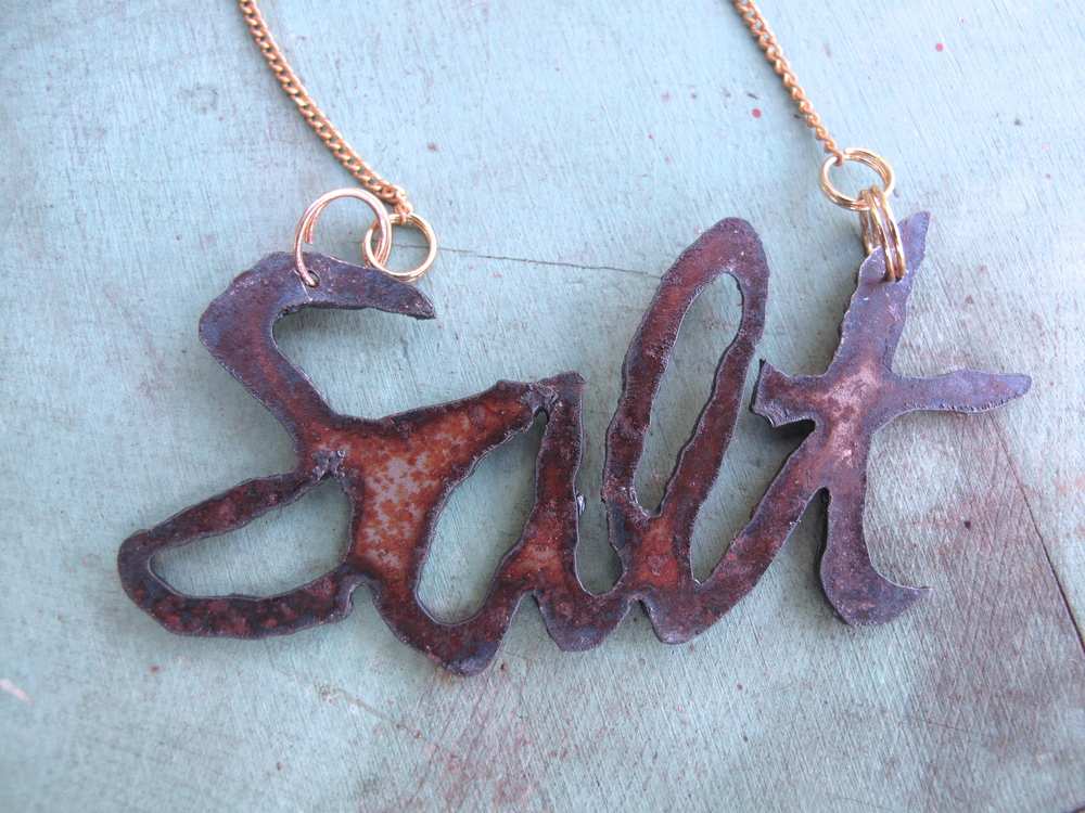 salt necklace. plasma cut steel. *contact for customized bling.
