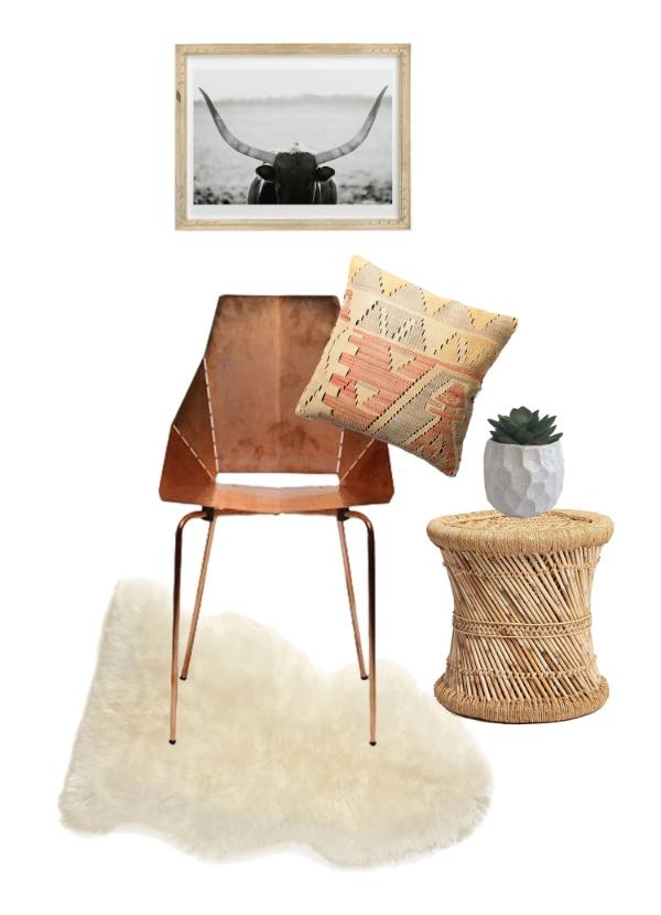 Chair  //  Sheepskin  //  Side Table  //  Succulent  //  Pillow  //  Art