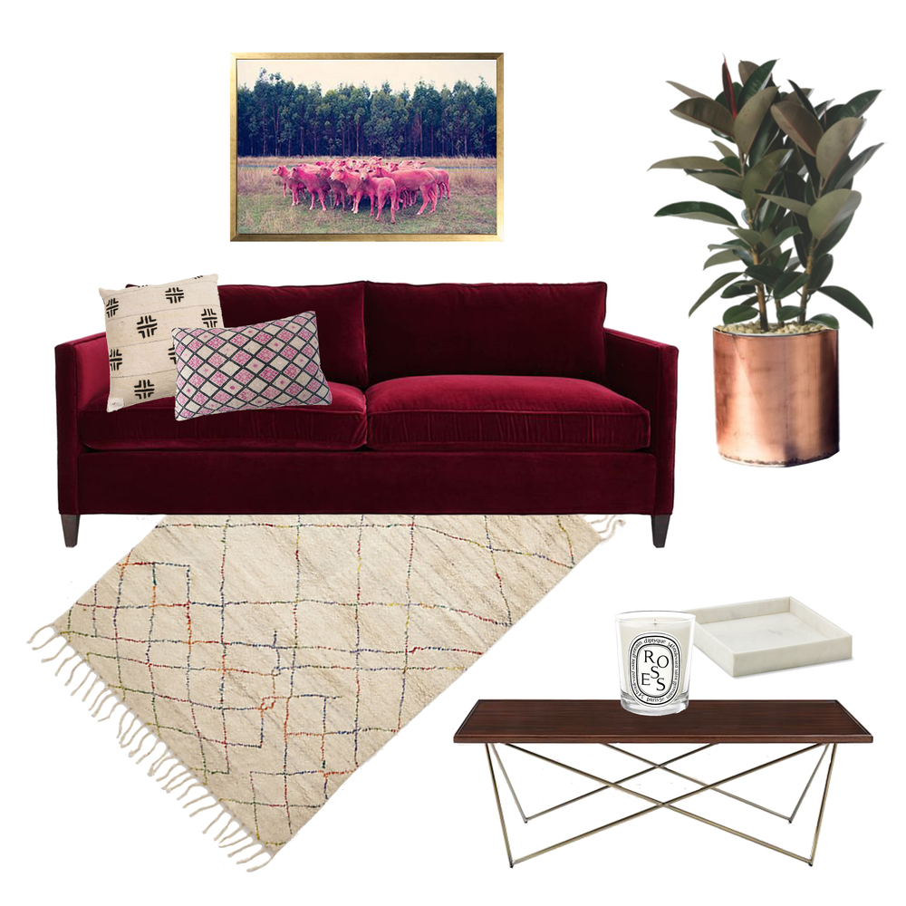 Couch (similar)  //  Photo  //  Plant  //  Marble Tra y //  Candle  //  Coffee Table  //  Rug  //  Large Pillow  //  Small Pillow