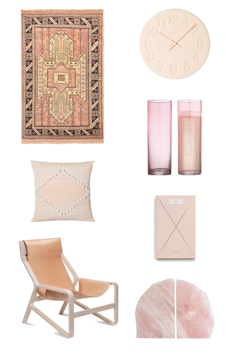 Rug  //  Clock  //  Champagne Flutes  //  Pillow  //  Planner  //  Chair  //  Bookends