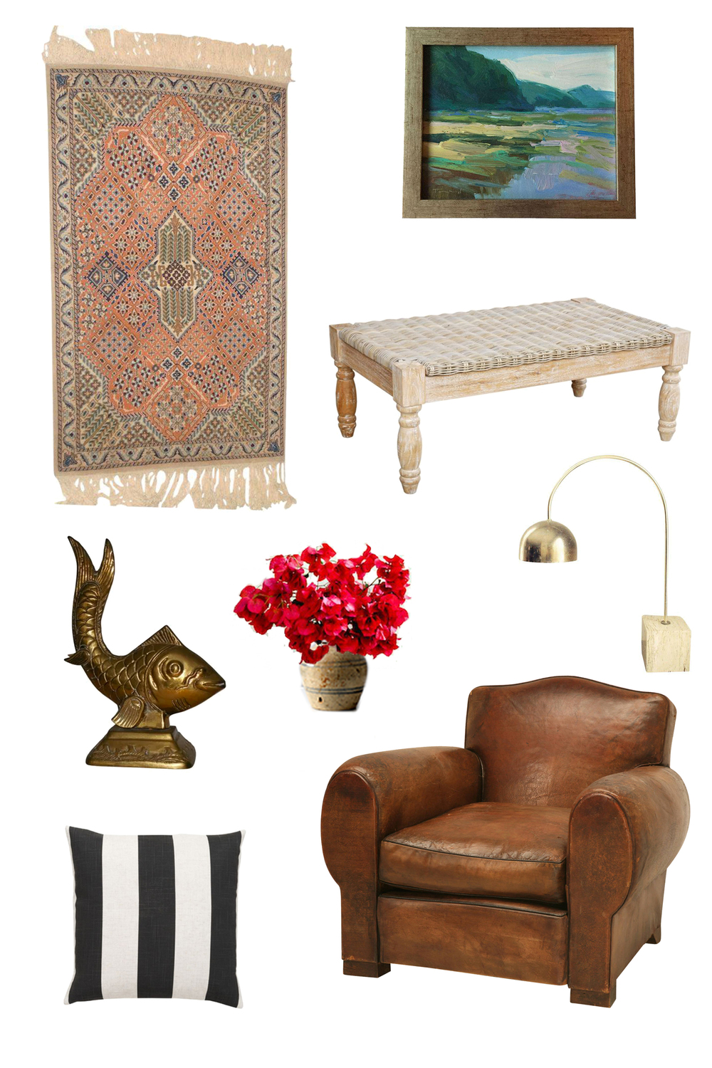 Rug  //  Painting  //  Coffee Table  //  Lamp  //  Chair  //  Pillow  //  Fish