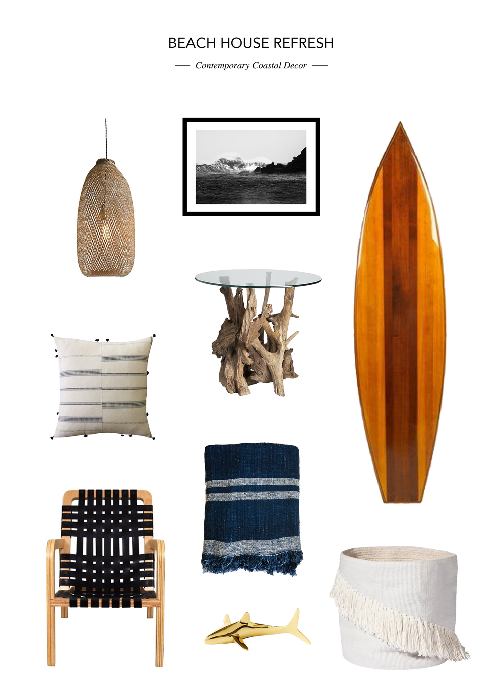 Lamp  //  Art  //  Surfboard  //  Pillow  //  Side Table  //  Chair  //  Blanket  //  Brass Shark  //  Basket