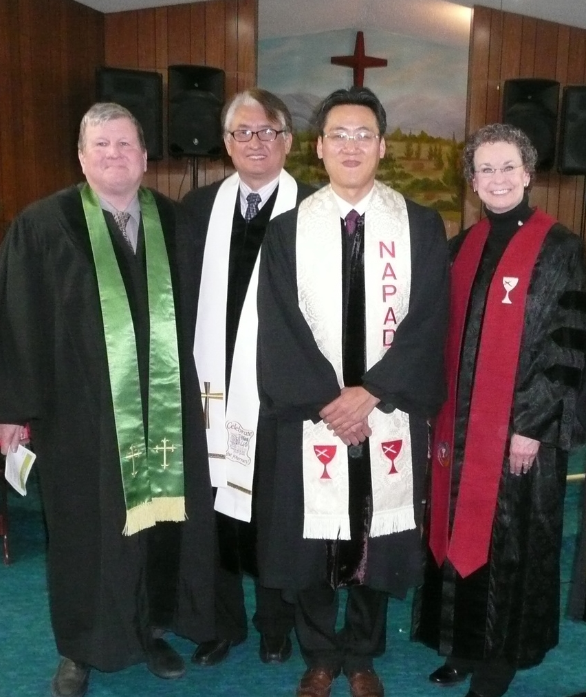 Pictured are St. Charles Christian Church pastor Chris Franklin, NAPAD Executive Pastor Jinsuk Chun, World Mission Christian Church pastor Young Noh, and SEGA Area Minister Penny Ross-Corona.