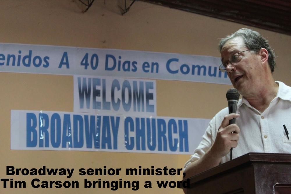 Broadway senior minister, Tim Carson bringing a word